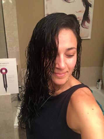 Wet hair.